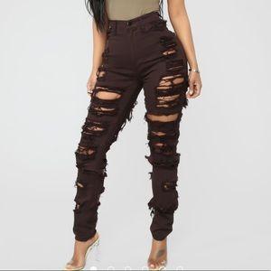 Dark Brown Super Distressed High Rise Jeans